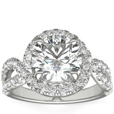 Monique Lhuillier Swirl Twist Infinity Diamond Engagement Ring in Platinum (5/8 ct. tw.)