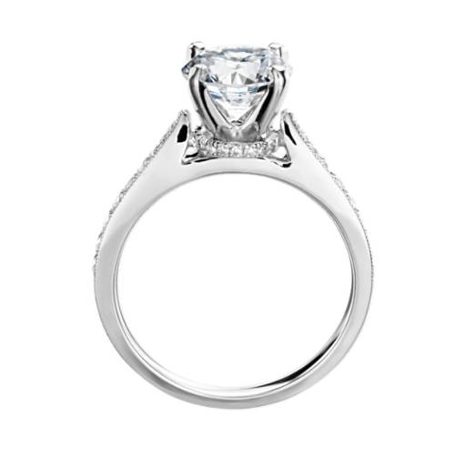 Monique Lhuillier Tapered Milgrain Diamond Collar Engagement Ring