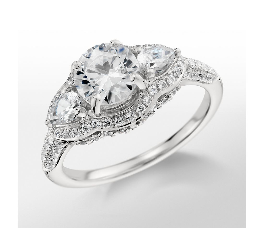 Engagement Rings No Stone: Monique Lhuillier Three Stone Diamond Engagement Ring In