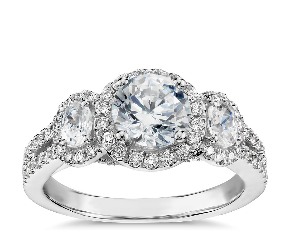 Monique Lhuillier Three-Stone Halo Pavé Diamond Engagement