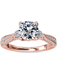 Monique Lhuillier Realeza Three Stone Milgrain Diamond Engagement Ring in 18k Rose Gold (1/2 ct. tw.)