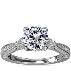NEW Monique Lhuillier Realeza Three Stone Milgrain Diamond Engagement Ring in Platinum (1/2 ct. tw.)