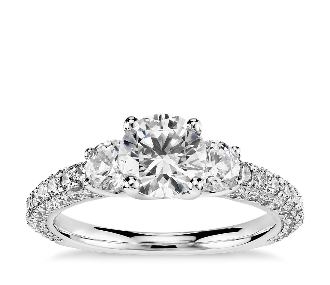 Monique Lhuillier Three-Stone Trio Micropavé Diamond Engagement Ring in Platinum (1 ct. tw.)