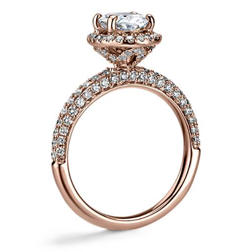Monique Lhuillier Timeless Oval Rollover Halo Diamond Engagement Ring
