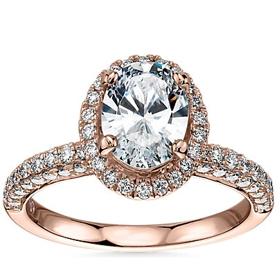 NEW Monique Lhuillier Timeless Oval Rollover Halo Diamond Engagement Ring in 18k Rose Gold