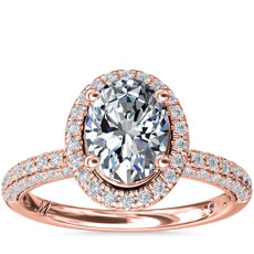 Monique Lhuillier Timeless Oval Rollover Halo Diamond Engagement Ring in 18k Rose Gold (3/4 ct. tw.)