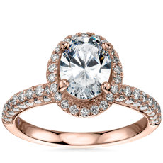 Monique Lhuillier Timeless Oval Rollover Halo Diamond Engagement Ring in 18k Rose Gold