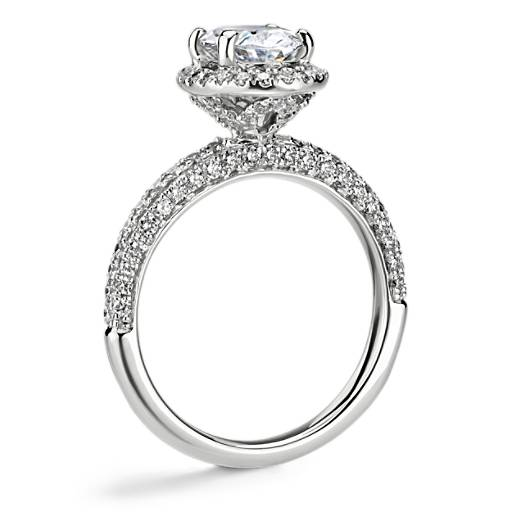 NEW Monique Lhuillier Timeless Oval Rollover Halo Diamond Engagement Ring
