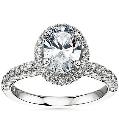 NEW Monique Lhuillier Timeless Oval Rollover Halo Diamond Engagement Ring in Platinum (3/4 ct. tw.)