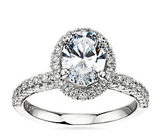 Monique Lhuillier Timeless Oval Rollover Halo Diamond Engagement Ring in Platinum