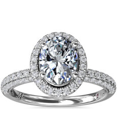 Monique Lhuillier Timeless Oval Rollover Halo Diamond Engagement Ring in Platinum (3/4 ct. tw.)