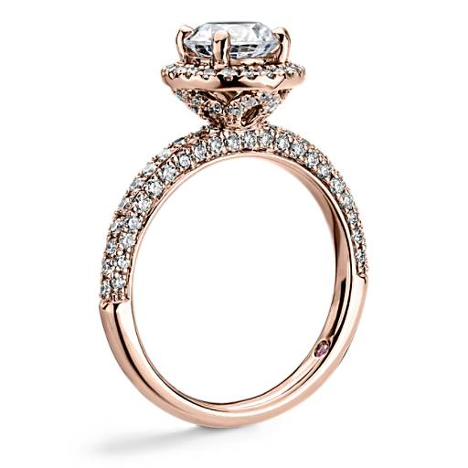 NEW Monique Lhuillier Timeless Rollover Halo Diamond Engagement Ring