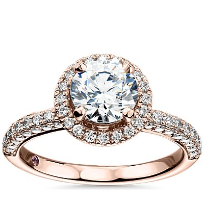 Bague de fiançailles intemporelle coulissante avec halo de diamants Monique Lhuillier en or rose 18 carats