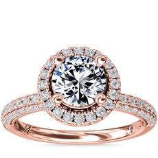 Monique Lhuillier Timeless Rollover Halo Diamond Engagement Ring in 18k Rose Gold (3/4 ct. tw.)