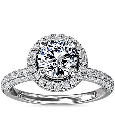 Monique Lhuillier Timeless Rollover Halo Diamond Engagement Ring in Platinum (3/4 ct. tw.)