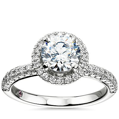 NEW Monique Lhuillier Timeless Rollover Halo Diamond Engagement Ring in Platinum
