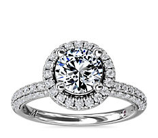Bague de fiançailles intemporelle coulissante avec halo de diamants Monique Lhuillier en platine (3/4carat, poids total)