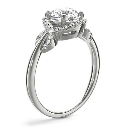 Monique Lhuillier Timeless Twist Diamond Halo Engagement Ring