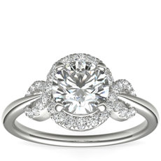 Monique Lhuillier Timeless Twist Diamond Halo Engagement Ring in Platinum (1/3 ct. tw.)