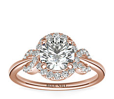 Monique Lhuillier Timeless Twist Diamond Halo Engagement Ring in 18k Rose Gold (1/3 ct. tw.)