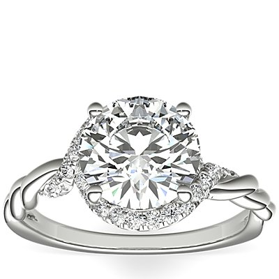 Monique Lhuillier Twist Infinity Diamond Engagement Ring in Platinum
