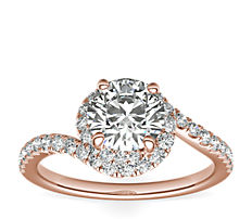 Monique Lhuillier Opulence Twisting Halo Diamond Engagement Ring in 18k Rose Gold