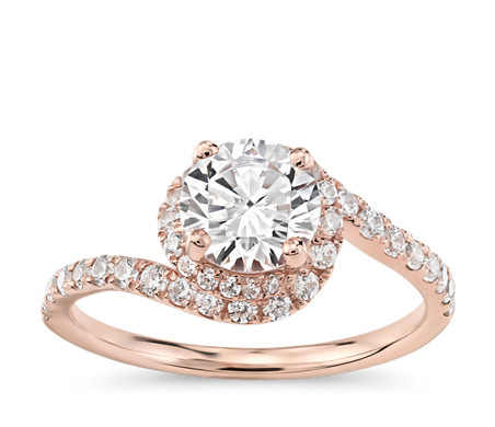 Monique Lhuillier Opulence Twisting Halo Diamond Engagement Ring in 18k Rose Gold (1/2 ct. tw.)