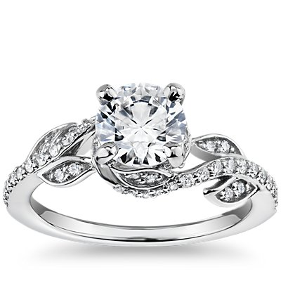 Monique Lhuillier Twisting Vine Diamond Engagement Ring in Platinum