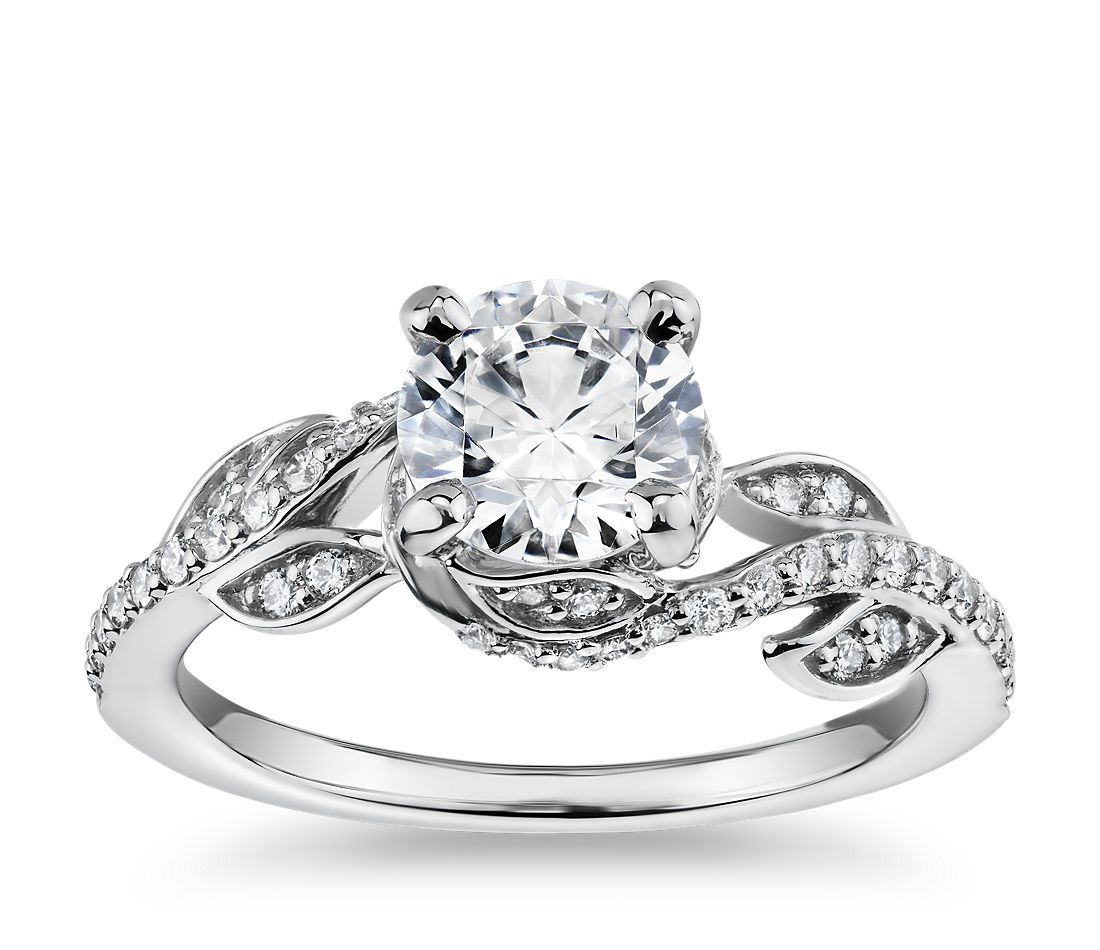 Monique Lhuillier Twisting Vine Diamond Engagement Ring In Platinum 1 4 Ct Tw