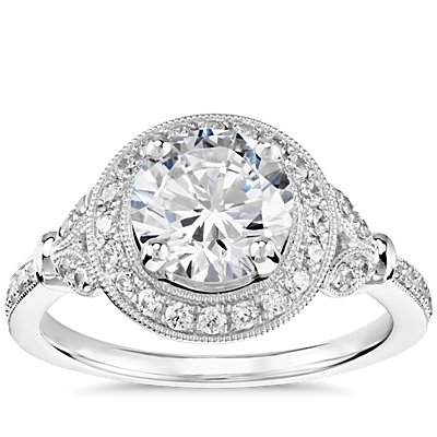 Monique Lhuillier Vintage Floral Halo Diamond Engagement Ring in Platinum (1/4 ct. tw.)