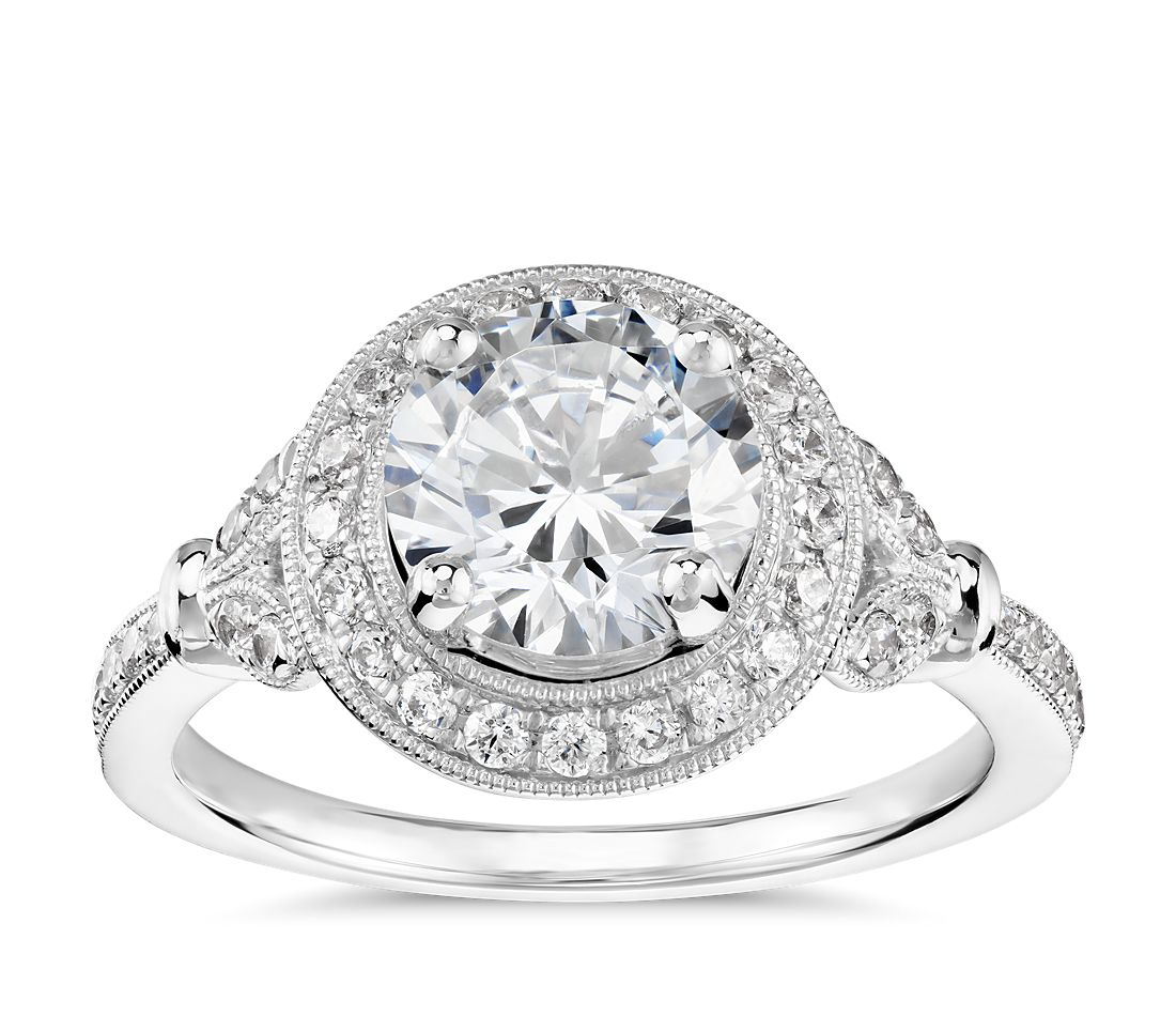 Vintage wedding rings platinum - Monique Lhuillier Vintage Floral Halo Diamond Engagement Ring In Platinum 1 4 Ct Tw