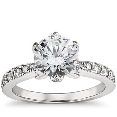 Monique Lhuillier Pavé Petal Engagement Ring in Platinum