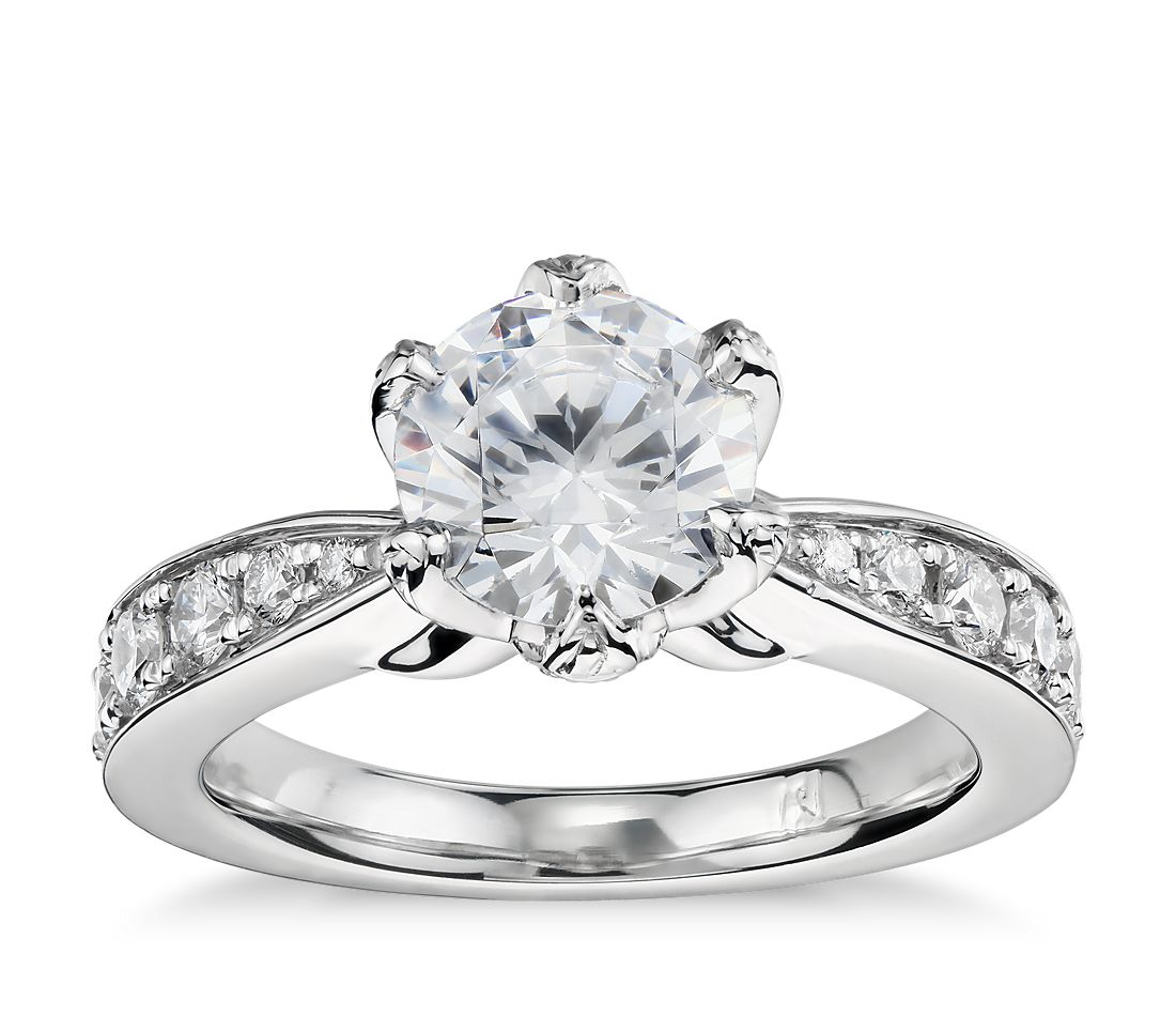 Monique Lhuillier Petal Pavé Diamond Engagement Ring in Platinum