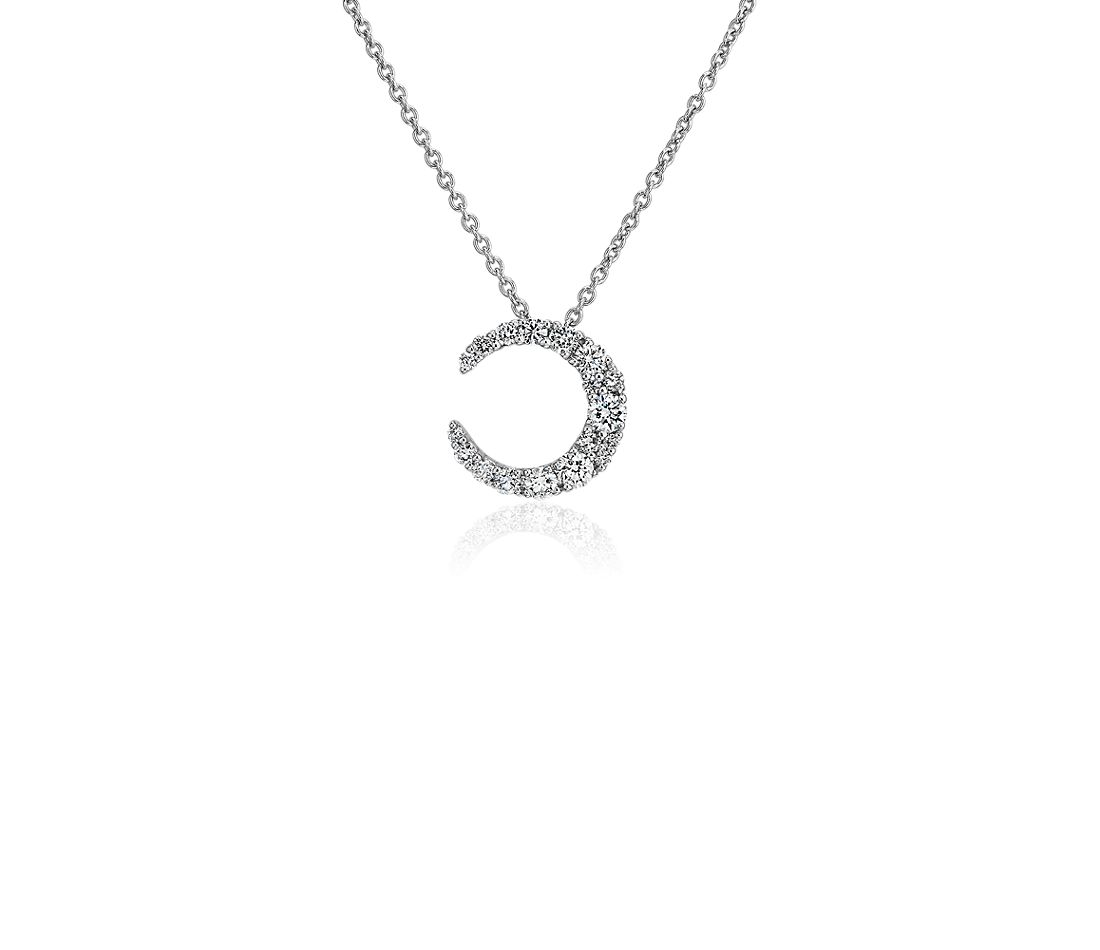 Moon Diamond Necklace in 18k White Gold