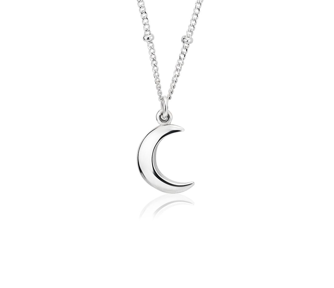 Moon Pendant with Saturn Chain in Sterling Silver