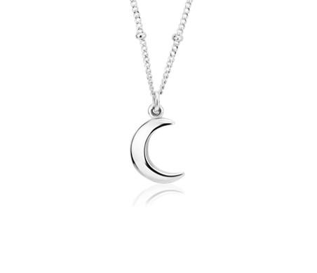Colgante con luna y cadena de saturno en plata de ley