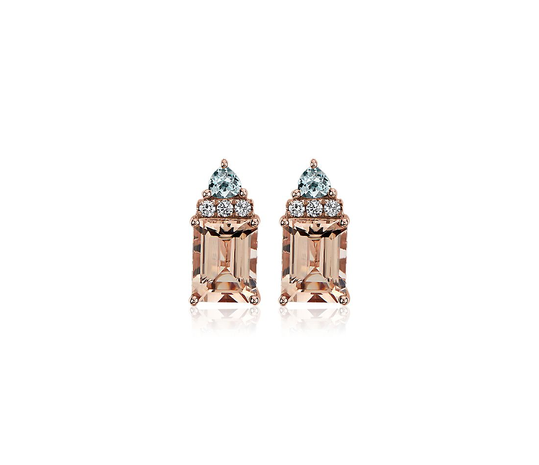 Morganite and Aquamarine Diamond Cathedral Earrings in 14k Rose Gold