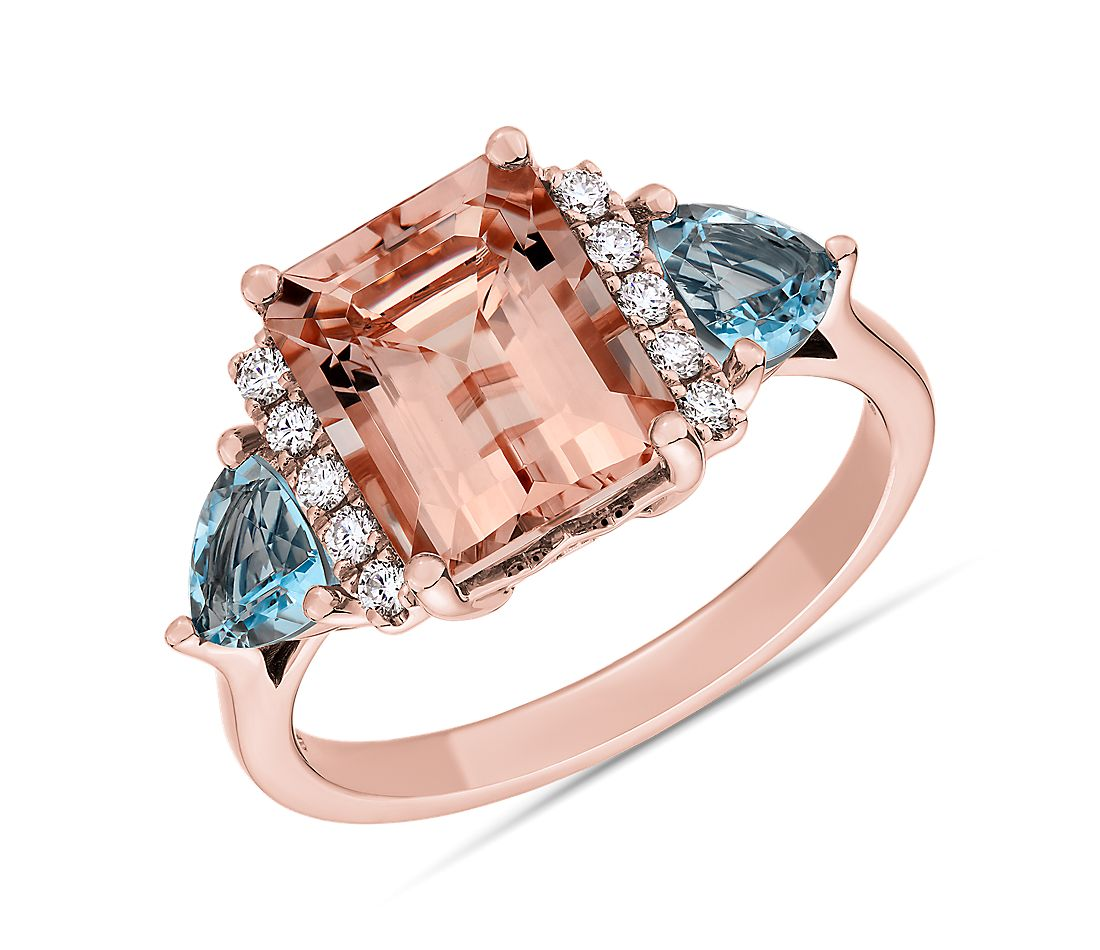 Morganite and Aquamarine Diamond Cathedral Ring in 14k Rose Gold