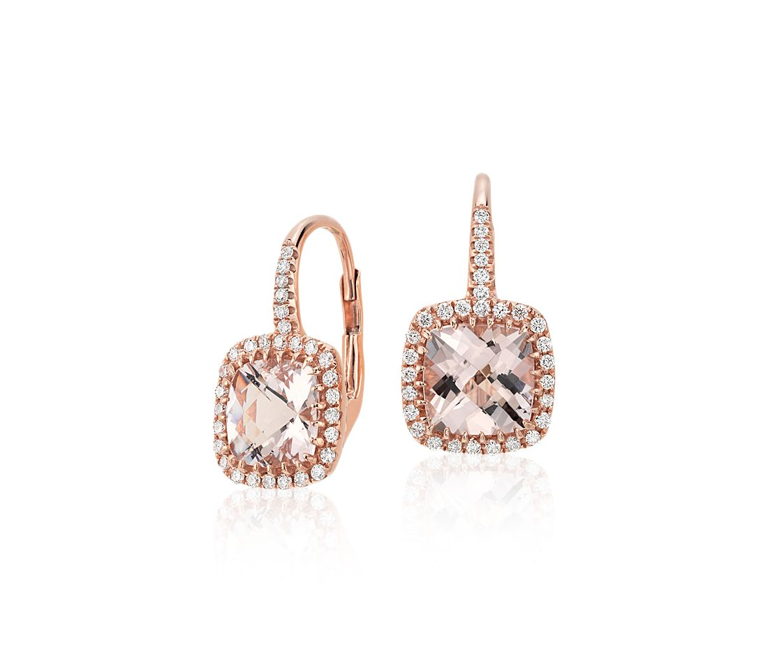 Morganite and Diamond Cushion Drop Earrings in 14k Rose ...