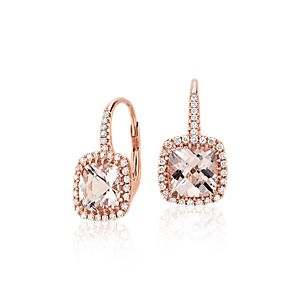 Morganite and Diamond Cushion Drop Earrings in 14k Rose Gold (7x7mm)