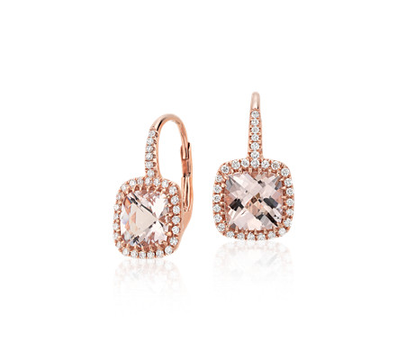 Morganite And Diamond Cushion Drop Earrings In 14k Rose Gold 7x7mm
