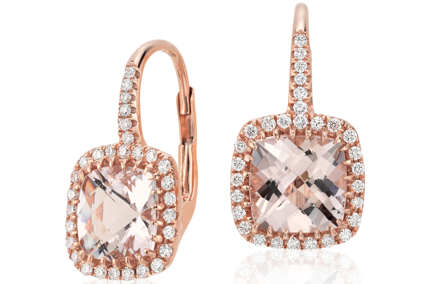 Pendants d'oreilles coussin diamant et morganite en or rose 14carats (7x7mm)