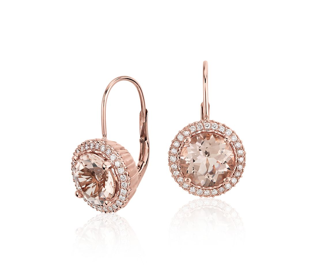 Robert Leser Morganite and Diamond Drop Earrings in 14k Rose Gold (8mm)