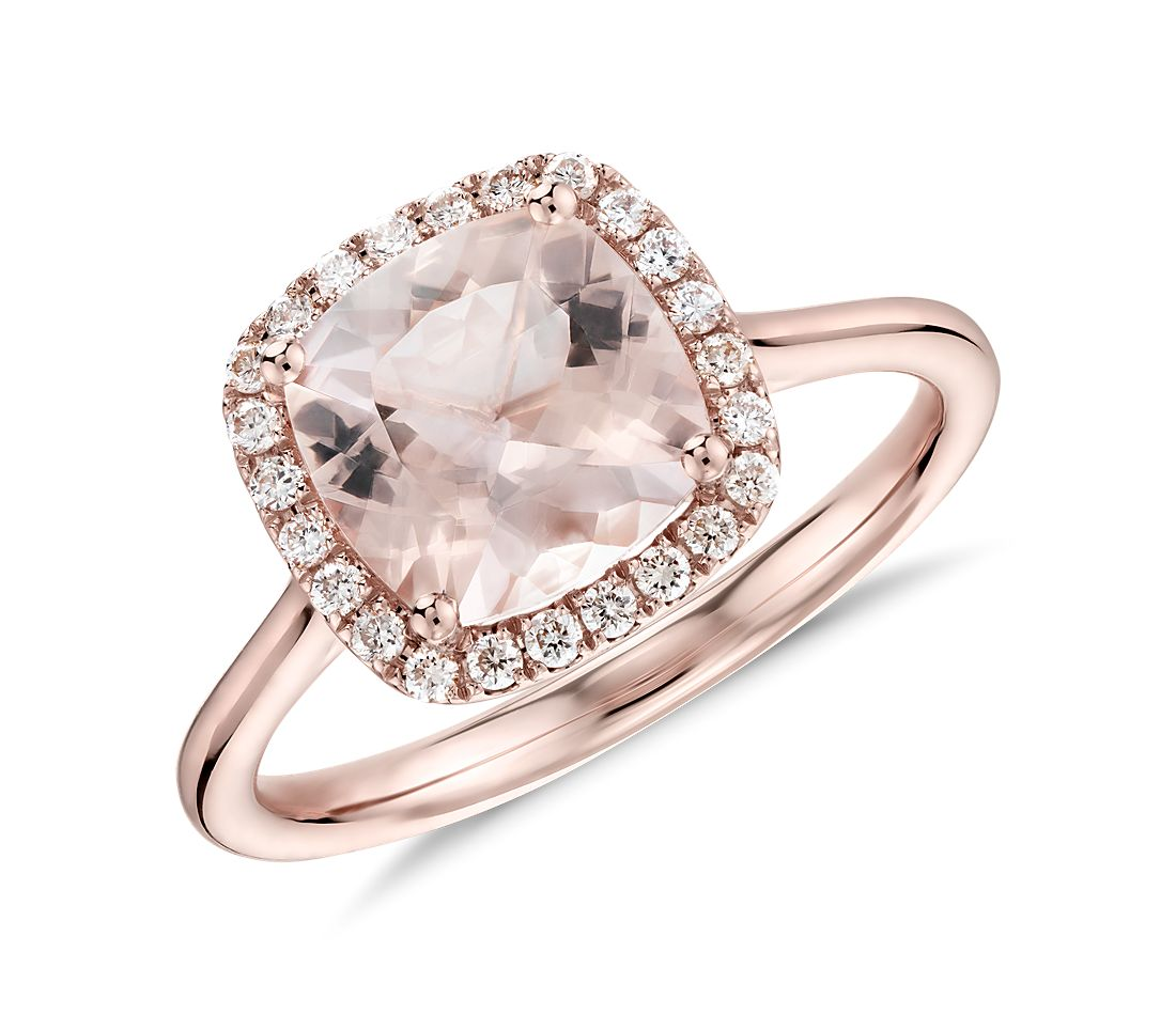 Morganite and Diamond Halo Cushion Ring in 14k Rose Gold 8x8mm