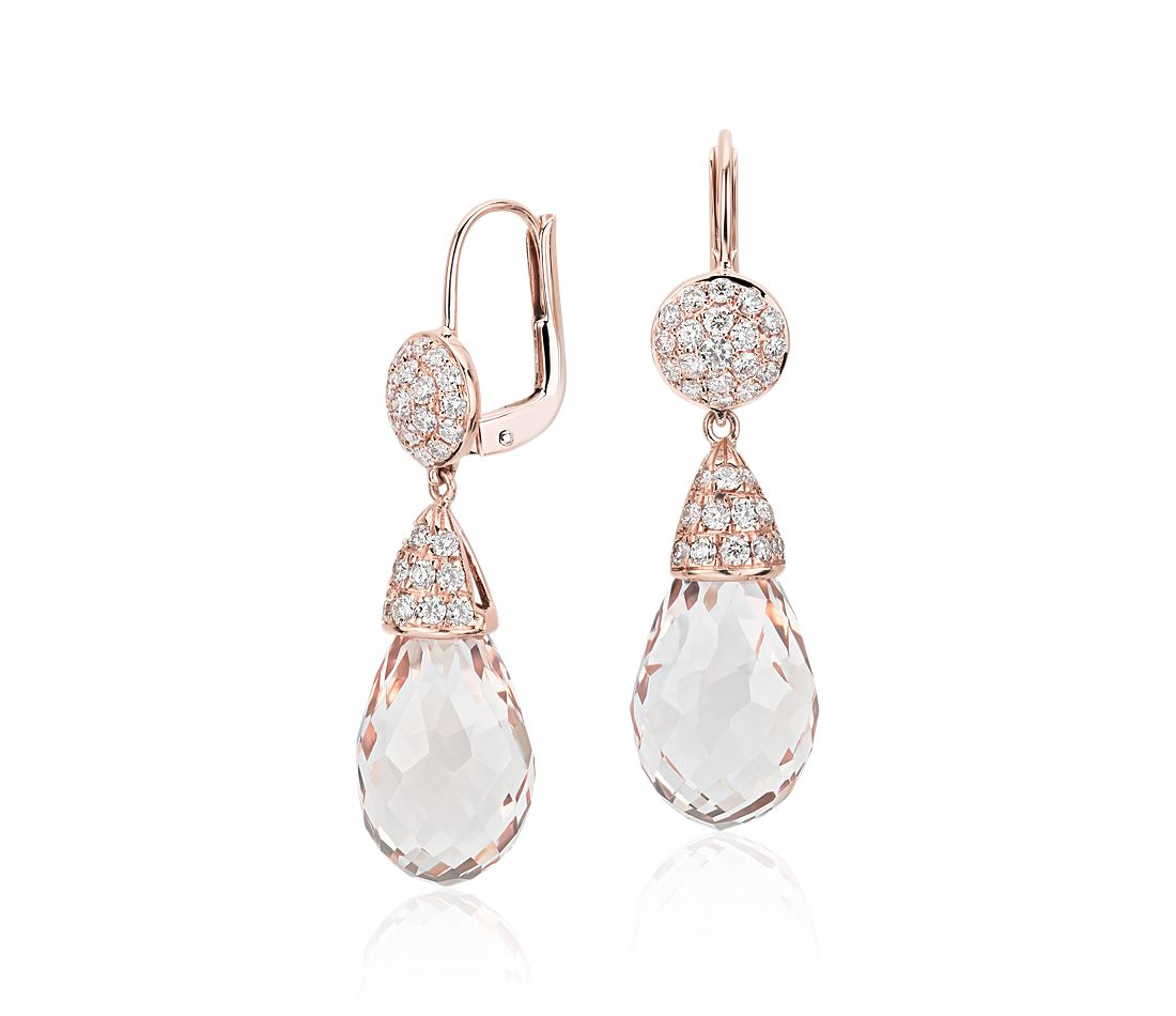 Briolette Morganite and Diamond Drop Earrings in 18k Rose Gold (19.29 ct. tw. centers)