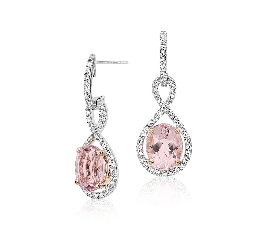 Morganite And Diamond Infinity Earrings In 18k White Rose Gold