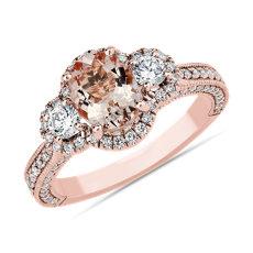 新款 14k 玫瑰金鈀柱石與鑽石時尚戒指