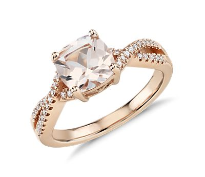 Morganite and Diamond Infinity Twist Ring