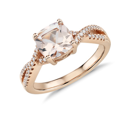 Morganite and Diamond Infinity Twist Ring in 14k Rose Gold 7mm