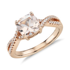 Morganite and Diamond Infinity Twist Ring in 14k Rose Gold (7mm)